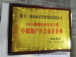 2018郑州经济年度大奖 中原地产社会责任企业