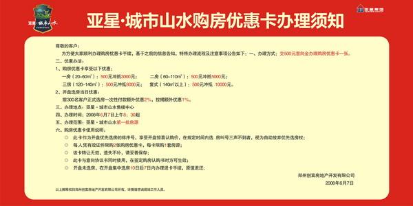 亚星城市山水-郑州-6日认筹须知展板